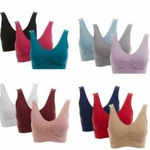 Rhonda Shear Cotton Ahh Bra 3 Pack Removable NEW